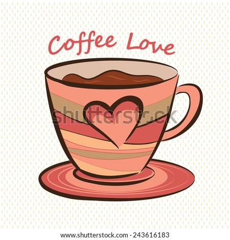 Coffee mug with heart shape - stock vector