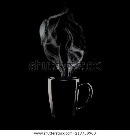 Coffee mug with steam,Steaming of tea or coffee isolate vector - stock vector