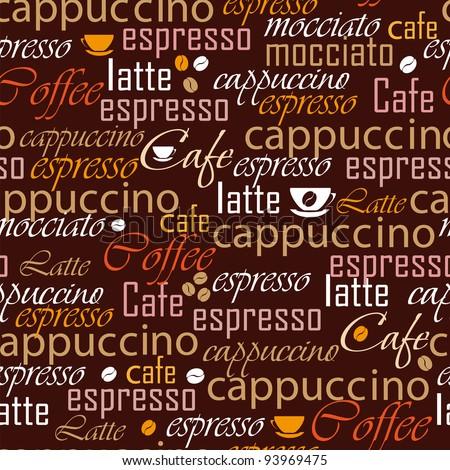 Coffee name seamless - stock vector