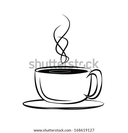 Coffee or cup of tea on a white background - stock vector