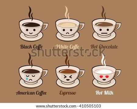 Coffee Pack Vector. Hot Chocolate. Hot Milk. Black Coffee. White Coffee. Espresso. Cappuccino. American Coffee - stock vector