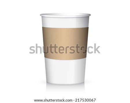 Coffee paper cup and cup sleeve - stock vector