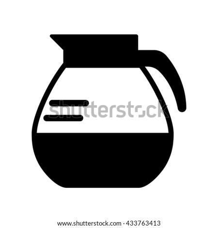 coffee pot black icon - stock vector