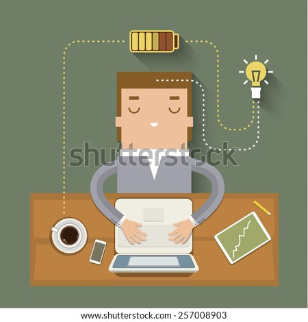 Coffee power. Concept of cheerfulness, recharge your batteries and beginning of the day. Flat style trendy modern design vector illustration - stock vector
