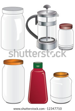 Coffee press and glass jars in different sizes - stock vector