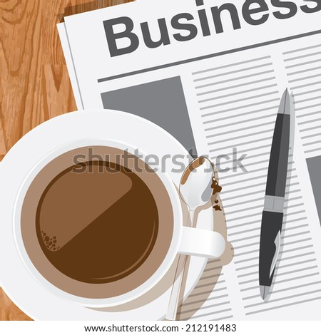 coffee,reading the business news vector - stock vector