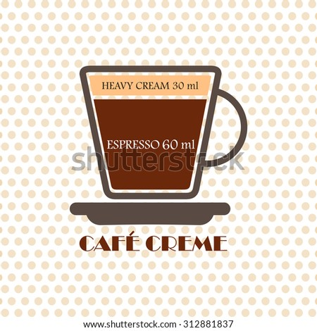 Coffee recipe Cafe Creme - stock vector