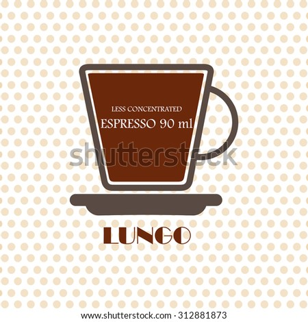 Coffee recipe Lungo - stock vector
