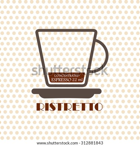 Coffee recipe Ristretto - stock vector