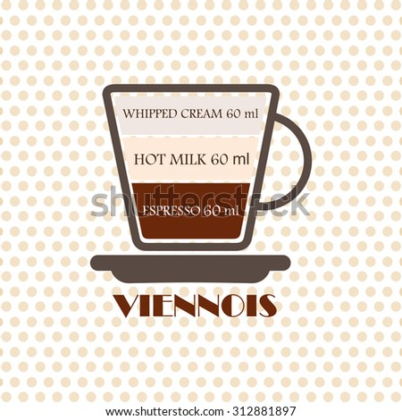 Coffee recipe Viennois - stock vector
