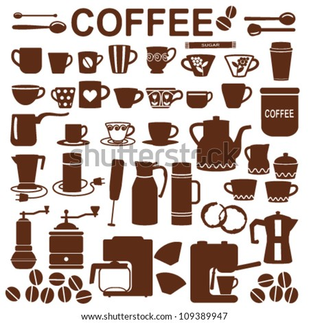 Coffee related silhouette symbols - stock vector