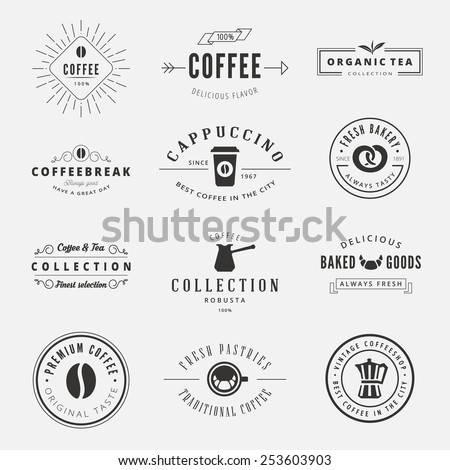 Coffee Retro Vintage Labels Logo design vector typography lettering templates.  Old style elements, business signs, logos, label, badges, stamps and symbols. Coffeeshop, tea, bakery theme. - stock vector