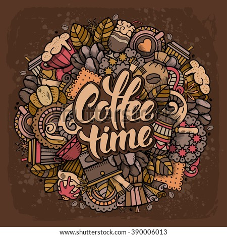 Coffee Round Design in Outline Hand Drawn Doodle Style with Different Objects on Coffee Theme. All elements are separated and editable. Calligraphic Lettering Coffee Time. Vector Illustration.  - stock vector