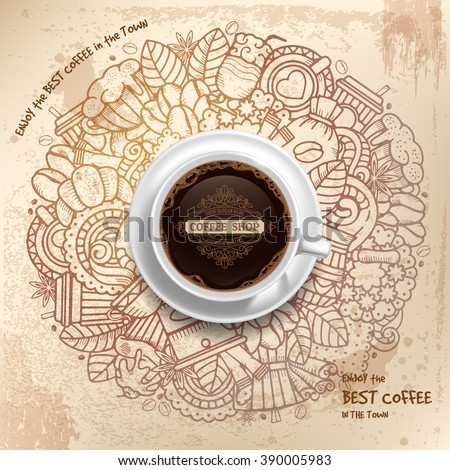 Coffee Round Design in Vintage Outline Hand Drawn Doodle Style with Different Objects on Coffee Theme.  Realistic Vector Coffee Cup on Center. Vector Illustration.  - stock vector