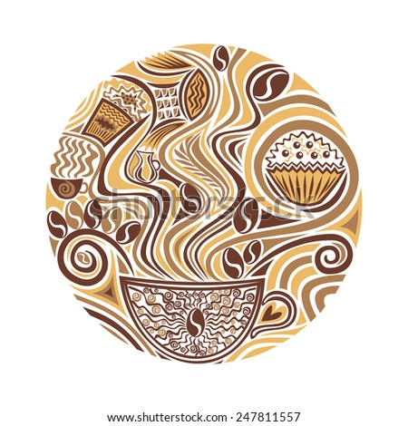 Coffee round pattern vector illustration - stock vector