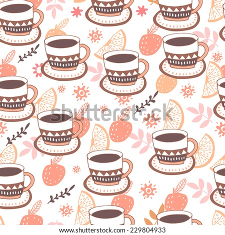 Coffee seamless background with cup and fruits - stock vector
