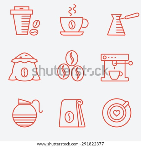 Coffee set, flat design, thin line style - stock vector