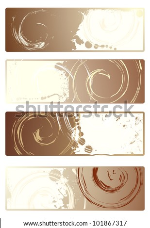 Coffee. Set of vector banners with grunge texture - stock vector