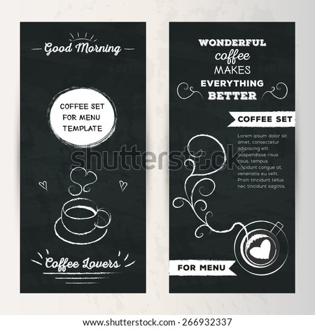 """Coffee set of vertical banner for menu template. Flyer lettering """"Good ..."""