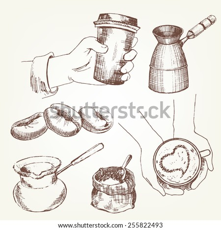 Coffee set. Pen sketch converted to vectors. - stock vector