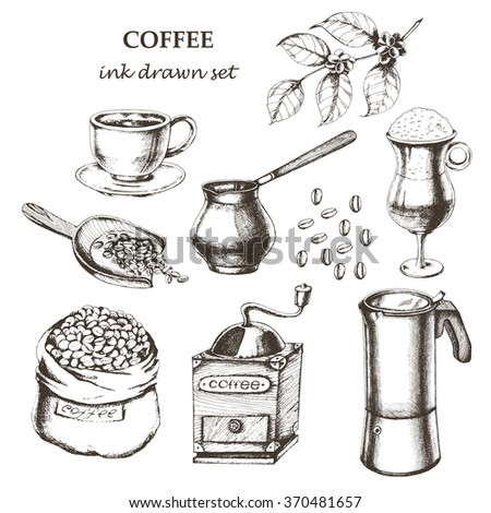 Coffee set with cup of coffee espresso, coffee mill, coffee pot, Latte in glass, coffee branch, coffee beans, bad of coffee, scoop of coffee. Hand drawn vector illustration in sketch style. Ink drawn. - stock vector