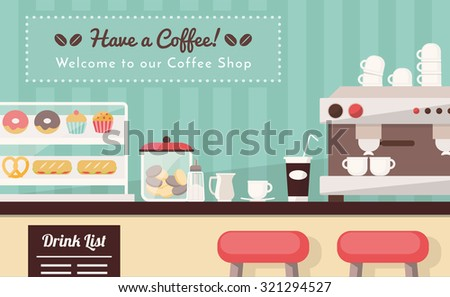 Coffee shop and snack bar banner, bar counter with snacks, espresso cup, take away coffee and coffee machine - stock vector