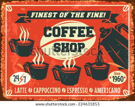 Coffee shop background. Vector illustration. - stock vector