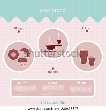 Coffee Shop, Caffetteria, Food and Drink in trendy tones - stock vector