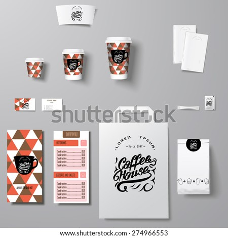 Coffee shop corporate identity template design set with lettering logo - stock vector