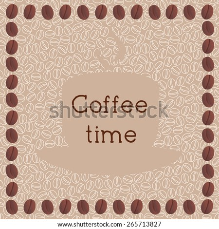 Coffee shop design with seamless pattern. Coffee time vector illustration. - stock vector