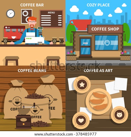 Coffee shop 4 flat icons square composition conceptual poster at cozy art design cafe abstract isolated illustration vector - stock vector