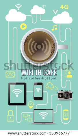 Coffee shop free service wifi infographic concept with icons - stock vector