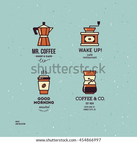 Coffee shop icon collection. Coffee logo template set. Vintage coffee logo template collection. Vector illustration  - stock vector