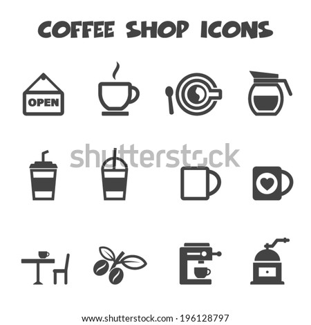 coffee shop icons, mono vector symbols - stock vector