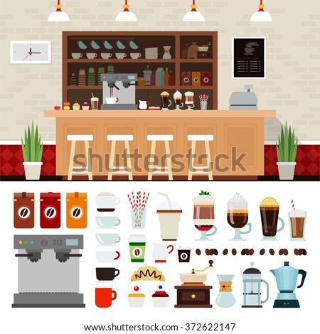 Coffee shop illustration set with coffee shop background design elements, Infographics of coffee - stock vector