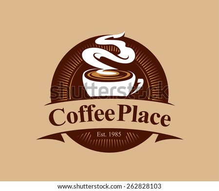 Coffee shop logo design template. Retro coffee emblem. Vector art. - stock vector