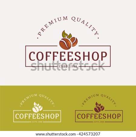 Coffee shop logos. Templates for color and monochrome versions. Logotypes isolated on clean background. Vector illustration. - stock vector
