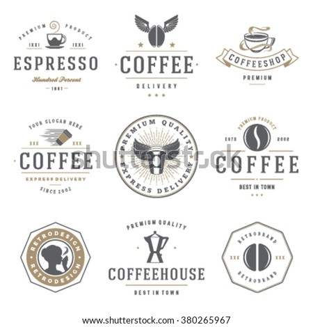 Coffee Shop Logos Templates Set. Bean Silhouette Isolated On White Background. Vector object for Labels, Badges, Logos Design. Coffee Logo, Bean Logo, Coffee Bean Symbol, Retro Logo, Bean Icon - stock vector