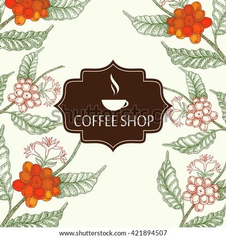 Coffee shop menu Vintage card. - stock vector