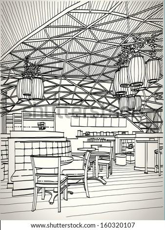 Coffee shop sketchbook - stock vector