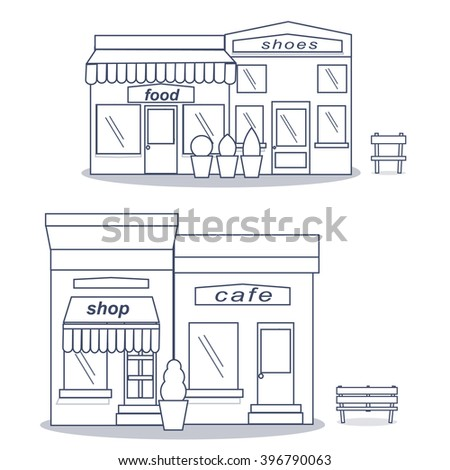 Coffee shop store or cafe. Vector illustration eps 10. Vector Detailed Shop, Market, Store, Cafe, Icon flat design restaurants and shops facade icons.Includes shop,coffee shop,shoe repair,boutique,  - stock vector