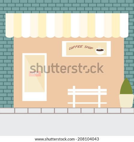 Coffee shop,vector flat design - stock vector