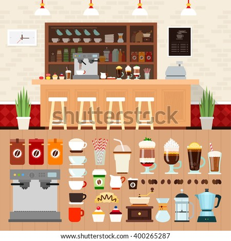 Coffee shop vector flat illustrations. Coffee bar interior with cakes, coffee machines and cooking utensils on the shelves. Rest and snack concept. Different kinds of coffee and equipment isolated - stock vector