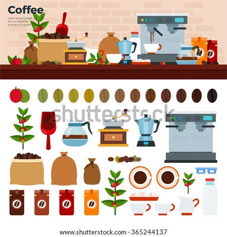 Coffee shop vector flat illustrations. ?offee house with coffee machine, seeds, cups and othe coffee stuff. Cups, seeds, pots, percolator isolated on white background - stock vector