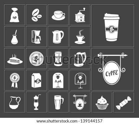 coffee shop white vector web icons set - stock vector