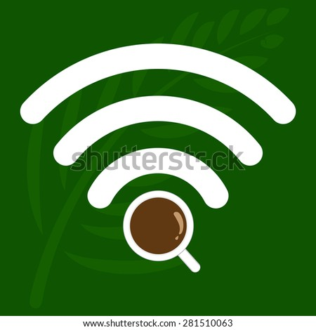 Coffee shop WiFi zone sign, Free Wi Fi. internet connection. - stock vector