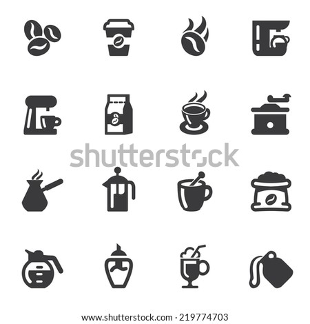 Coffee Silhouette icons - stock vector