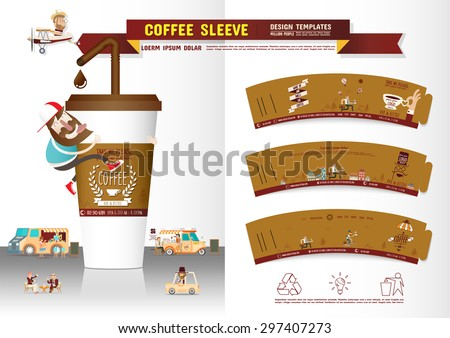 Coffee Sleeve Design Templates - stock vector