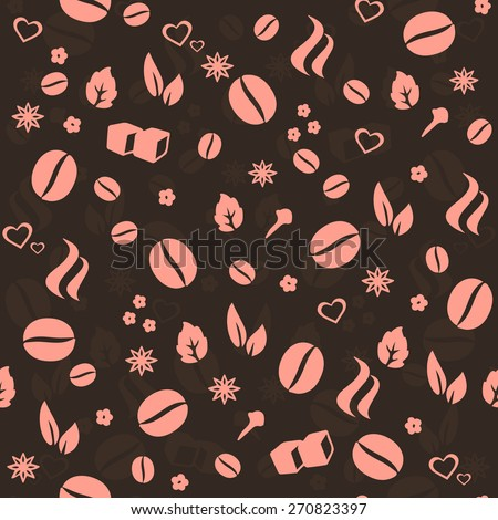 Coffee & Spices vector seamless pattern. Love Coffee vector background for food labeling, cafe menu or package decoration,  interior & tableware decoration, wallpaper, wrapping paper, pattern fills. - stock vector