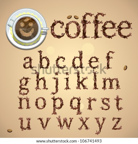 Coffee splash special font, abc a-z small letters, vector - stock vector